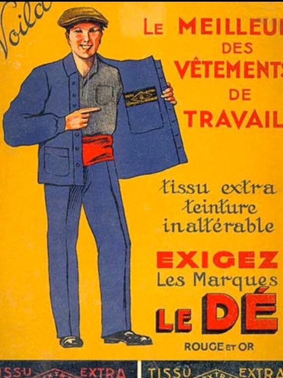 Stunning French Workwear, Size L, Vintage Chore C… - image 10