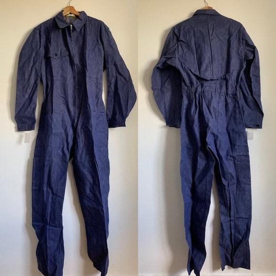 Swiss Vintage Jumpsuit, Size L, Blue Boilersuit, 1
