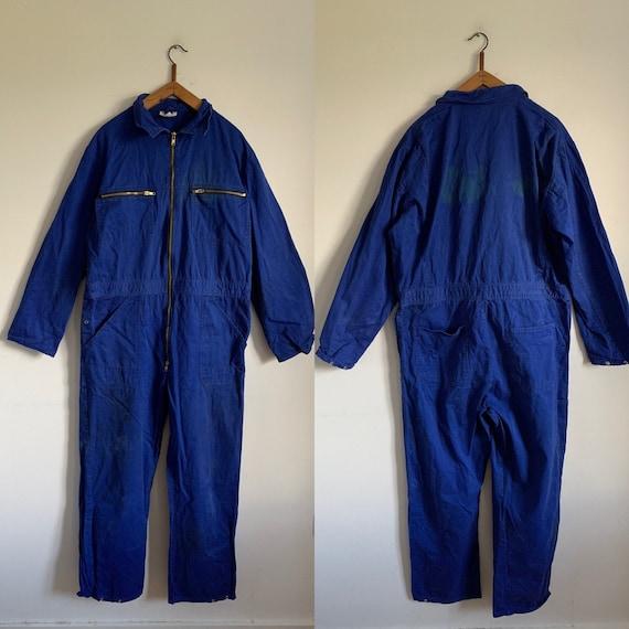 French Vintage Jumpsuit, Size L, 1950's Blue Boile
