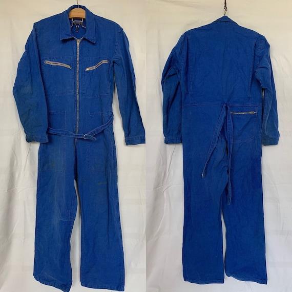 French Vintage Jumpsuit, Size M, Blue Boilersuit,