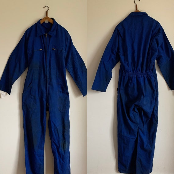 French Vintage Jumpsuit, Size L, Blue Boilersuit,