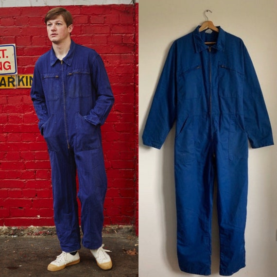 French Vintage Jumpsuit, Size M, Blue Boilersuit,