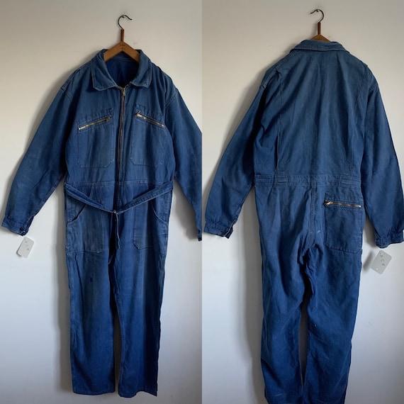 French Vintage Jumpsuit, Size L, Blue Boilersuit,