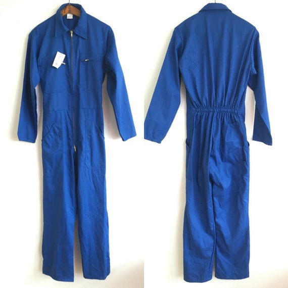 French Vintage Jumpsuit, Size S, Blue Boiler-suit,