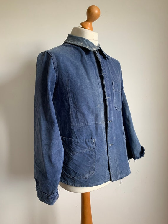 French Blue Workwear, Size L, 1940's Vintage Chore