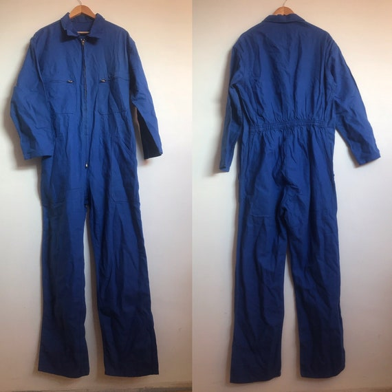French Vintage Workwear, Size L, Blue Coveralls Ju