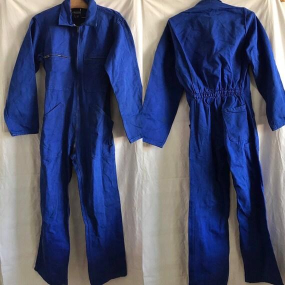 French Vintage Jumpsuit, Size M, Blue Boiler-suit,