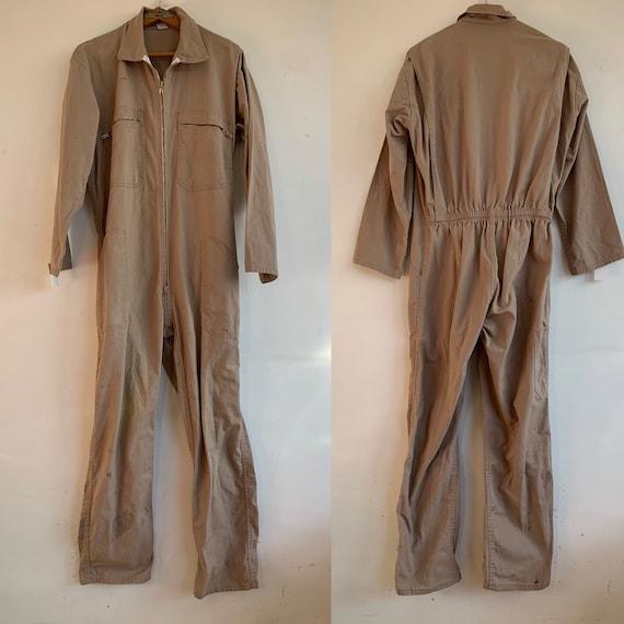 French Vintage Jumpsuit, Size M, Beige Boiler-suit