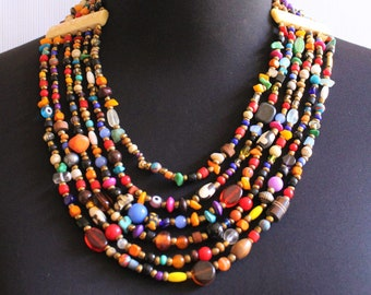 Beaded necklace-Statement necklace-African necklace-Chunky necklace-African jewelry-Bead necklace-Boho necklace-Bib necklace