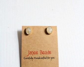 Stone earrings - Stone studs - Grey earrings - Stud earrings - Firestone earrings - Natural stone studs- Gold studs -