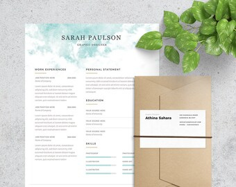 Clean and Professional Resume Template & Cover Letter Included | Format Photoshop and MS Word | Instant Download
