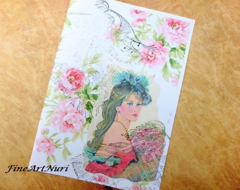 Art blank cards, vintage art card, women's greeting cards, love you cards, birthday cards, 15 years cards, miss you cards, digital cards,