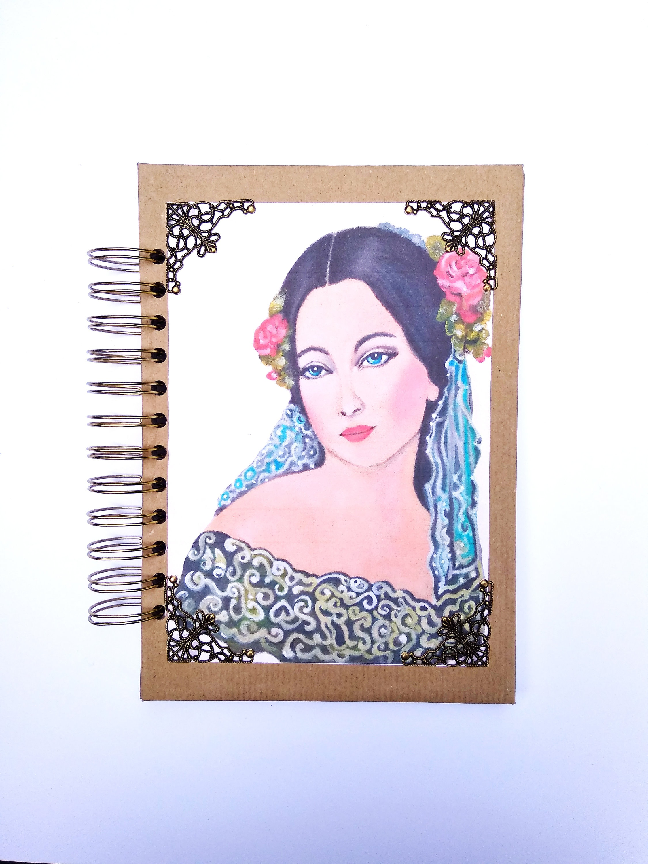 Woman's notebook, art notebook, victorian woman, impressionist gift,  spanish woman, spiral notebook, hard cover notebook, spanish art,