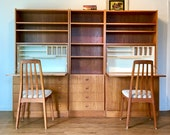 SOLD - Vintage Mid Century Scandinavian Teak Modular Wall Unit w Dual Secretary Desks by G. Van Pelt c 1970s.