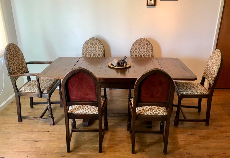 Antique Gothic Revival Jacobean Dining Set