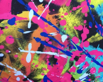 Digitally Printed Lycra Fabric in Abstract Paint Splatter - 4 way Stretch - Perfect for Active wear, Swimwear & Festival wear!