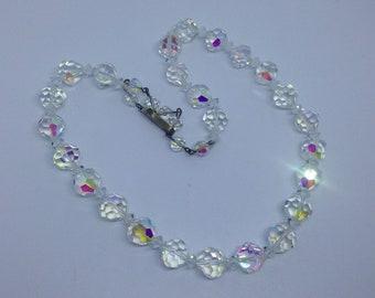 Vintage AB crystal necklace