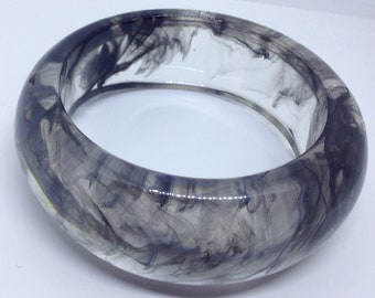 Smoky grey marbled Bakelite / resin bangle .