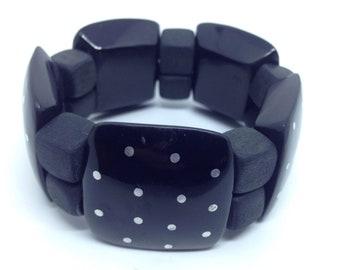 Bakelite polka dot black stretch bracelet