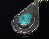 Native American sterling silver turquoise pendant necklace