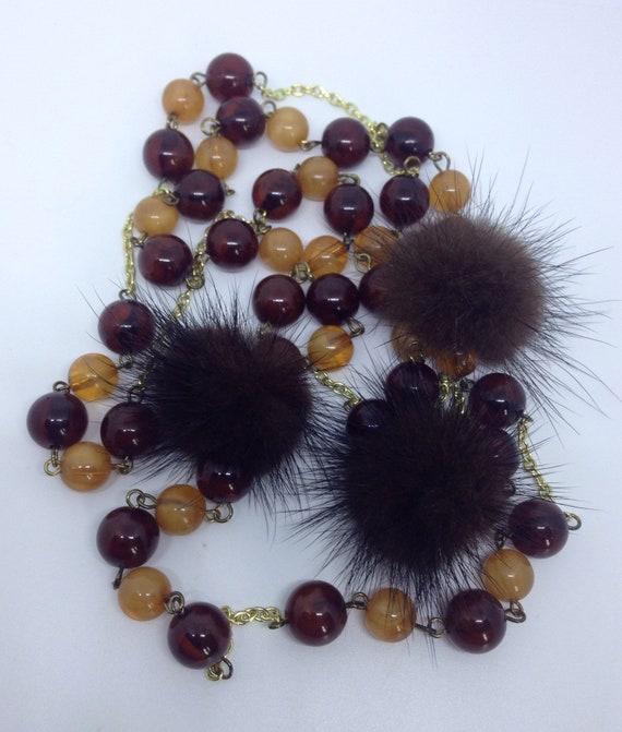 Kitsch 60's mink & lucite flapper necklace