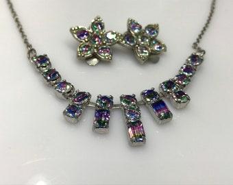 Iris glass antique necklace earrings set