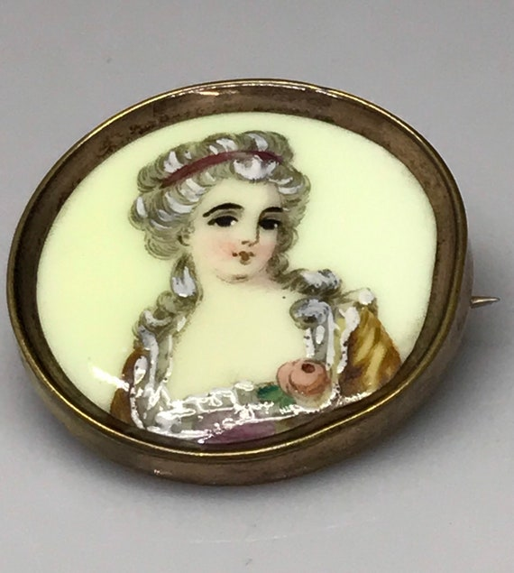 French brooch Limoges Victorian portrait