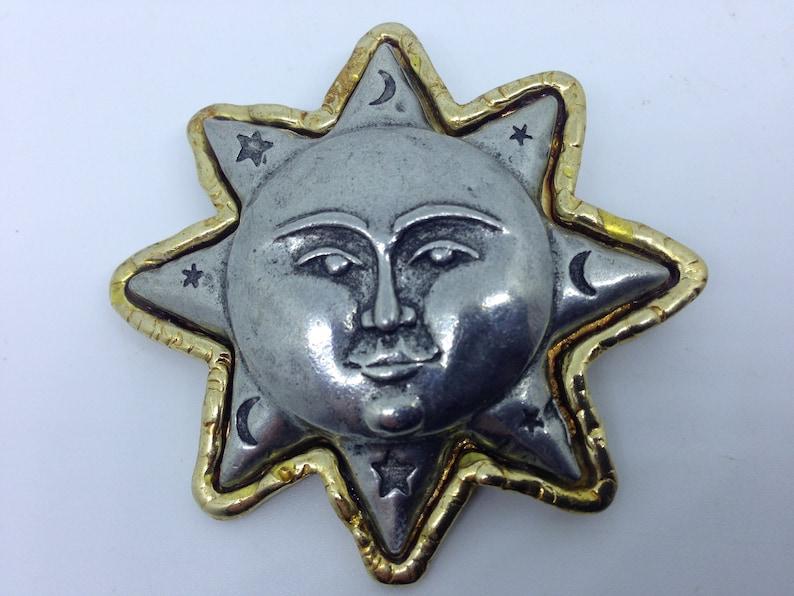 Jonette jewellery sun brooch signed