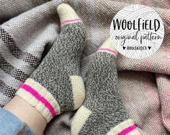 KNITTING PATTERN: Play Socks - Vanilla Sock, Beginner Sock Pattern, Work Socks, Sock Pattern, Marled Sock