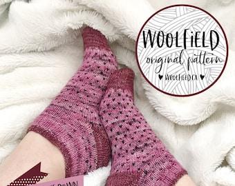 KNITTING PATTERN: Strawberry Short Socks - Ankle Sock Pattern, Fair Isle, Stranded Colorwork, Easy Sock Pattern, Hand Knit Socks