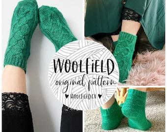 KNITTING PATTERN - Velveteen Slipper Socks - Sock Pattern, Cable Knit, Dk Sock, Dk Weight Yarn, Cable Knit Socks, Unisex, Ankle Sock