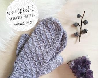 KNITTING PATTERN: Moonstone Mittens - Women's Textured Mitten Pattern