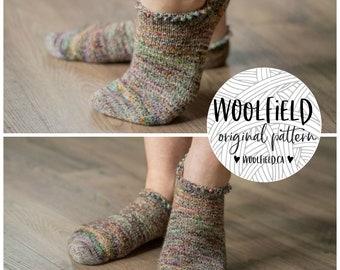 KNITTING PATTERN: Everyday Shorties - Vanilla Sock, Beginner Sock Pattern, Hand Knit Socks, Ankle Socks, Toe Up Socks