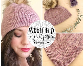 KNITTING PATTERN: Double Double Beanie - Double Brim Hat, Marled, Faux Fur Pompom, Unisex, Gender Neutral,  Fingering Weight Yarn