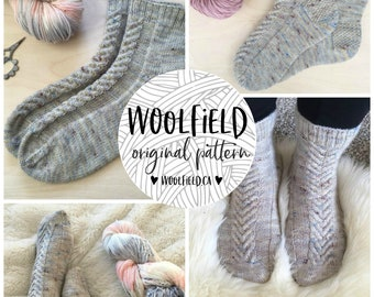 KNITTING PATTERN: PRONGS - antler sock knitting pattern, staghorn cable, antler cable, unisex socks, hand knit socks, cabled sock
