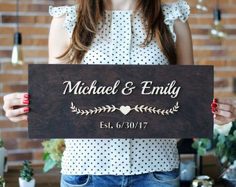 Last Name Sign Engagement gifts for couple Housewarming gift Wedding gift name sign Personalized Family Sign Established Sign Wood