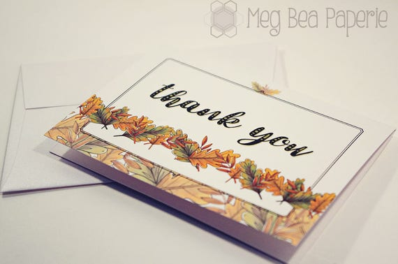 5 Pack Thank You Cards Autumn Leaves 3 5 X 5 With Etsy