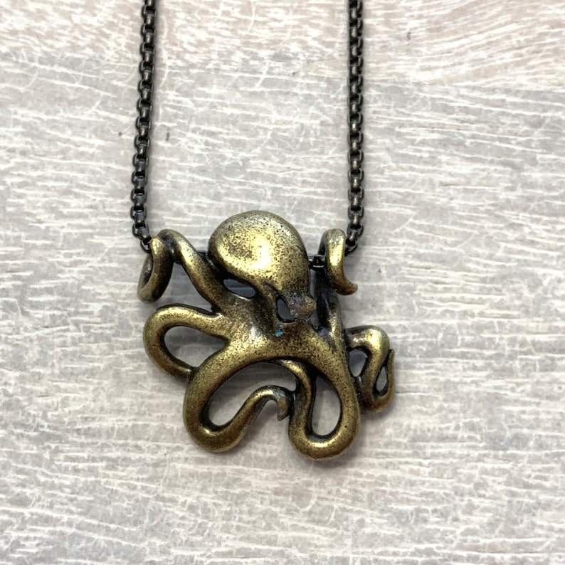 Octopus Pendant Octopus Necklace Mens Octopus Necklace Husband Gift Unisex Octopus Jewelry Sailor Mens Pendant With Chain