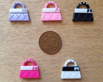 Set of 5 resin flat back handbags