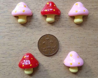 Set of 5 resin flat back toadstools