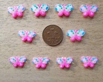 Set of resin flat back butterflies