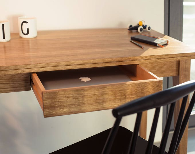 console desk - little office desk wood - desk hand crafted - desk solid timber - console table oak wood