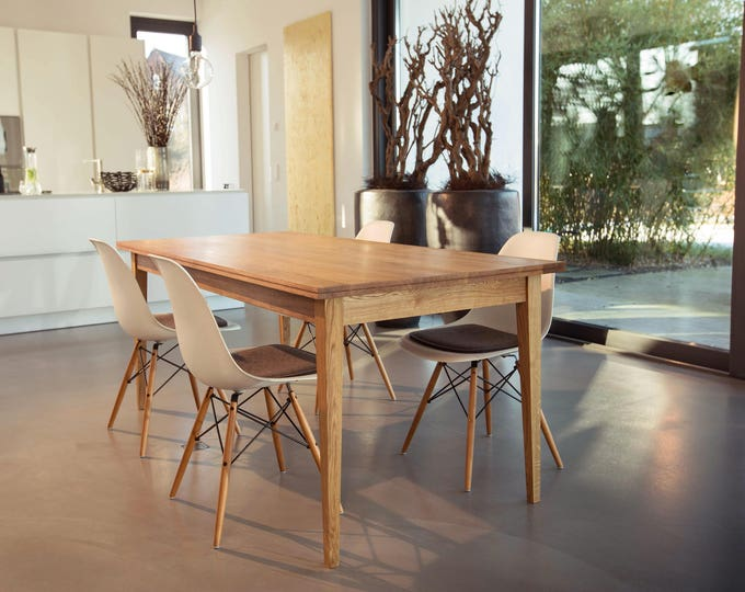 dining table solid oak wood with drawer REKORD furniture