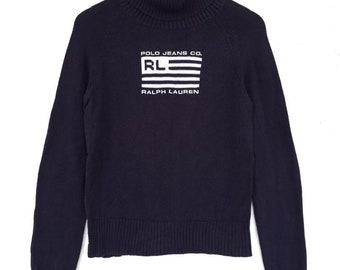 852af02e1 Vintage Ralph Lauren Sweatshirt Knitwear Dark Blue RL Logo  Polo Bear  Polo  jacket Champion Adidas Nike Ellese