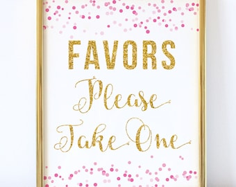 Favors Please Take One - Pink and Gold Bridal Shower Sign - Printable Wedding Sign - Printable Bridal Shower Sign - Favor Table Sign - 8x10