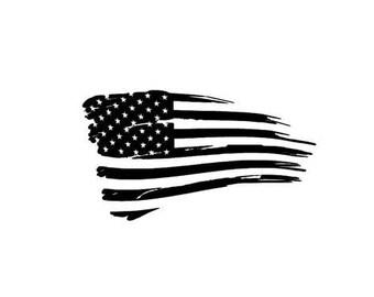 Tattered American Flag Sticker