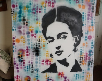 Spray Paint On Canvas. Frida Abstract. 24x36
