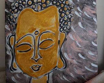 Mixed Media On Canvas. Buddha. 20x20