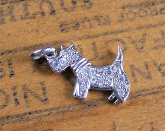 612ab2737 Sterling CZ Scotty Dog charm or pendant vintage sterling silver cubic  zirconia Scottie dog pendant charm signed FD 925 Scottish terrier
