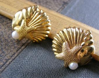054c39cbf Avon Sea Shell Starfish Pearl Earrings Vintage Avon jewelry gold tone pearl stud  post Sea life earrings Avon jewelry